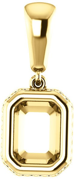 Bezel Set Soiltaire Pendant Mounting for Emerald Centergem Sized 5.00 x 3.00 mm to 16.00 x 12.00 mm - Customize Metal, Accents or Gem Type