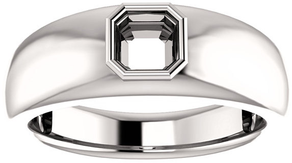 Bezel Set Solitaire Men's Ring Mounting for Asscher Shape Centergem Sized 5.00 mm to 7.00 mm - Customize Metal, Accents or Gem Type