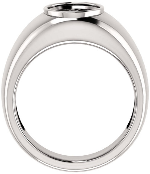 Bezel Set Solitaire Men's Ring Mounting for Oval Shape Centergem Sized 6.00 x 4.00 mm to 12.00 x 10.00 mm - Customize Metal, Accents or Gem Type