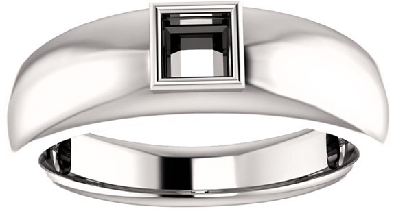 Bezel Set Solitaire Men's Ring Mounting for Square Shape Centergem Sized 4.00 mm to 10.00 mm - Customize Metal, Accents or Gem Type