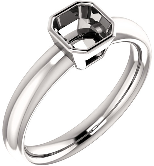 Bezel Set Solitaire Ring Mounting for Asscher Shape Centergem Sized 5.00 mm to 7.00 mm - Customize Metal, Accents or Gem Type