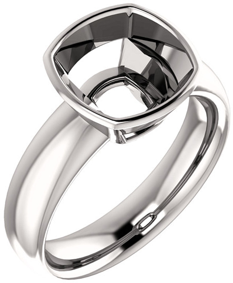 Bezel Set Solitaire Ring Mounting for Cushion Shape Centergem Sized 5.00 mm to 9.00 mm - Customize Metal, Accents or Gem Type
