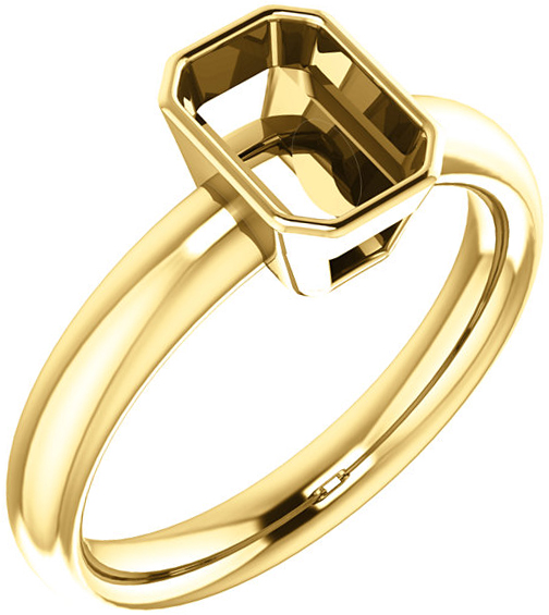 Bezel Set Solitaire Ring Mounting for Emerald Shape Centergem Sized 5.00 x 3.00 mm to 9.00 x 7.00 mm - Customize Metal, Accents or Gem Type