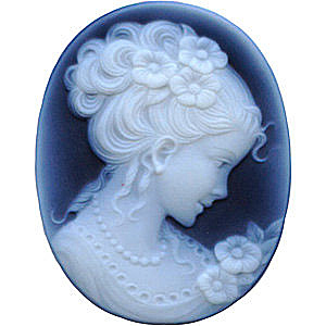 Black Agate Cameo Victorian Lady