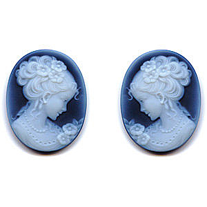 Black Agate Cameo Victorian Lady Pair