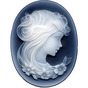 Black Agate Cameo Victorian Lady With Flowers