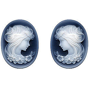 Black Agate Cameo Victorian Lady With Flowers Pair