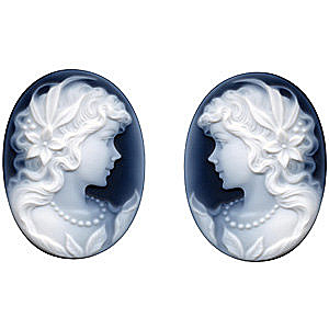 Black Agate Cameo Victorian Lady With Pearls Pair