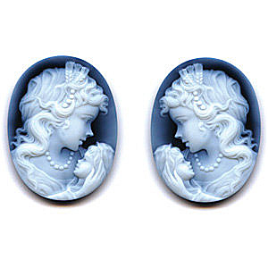 Black Agate Cameo Woman & Child Pair