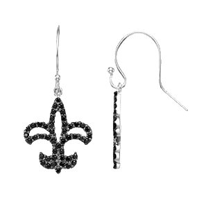 Easy Gift in Black Spinel Fleur-de-lis Earrings