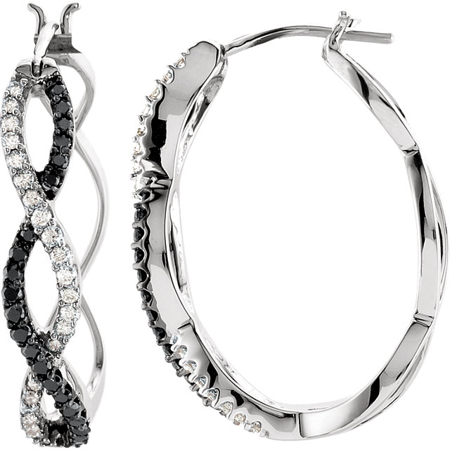 Fine Quality 14 Karat White Gold 0.50 Carat Total Weight Black & White Diamond Hoop Earrings