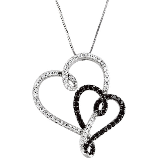Beautiful 14 Karat White Gold & Black Rhodium Plated 0.50 Carat Total Weight Black & White Diamond Double Heart 18