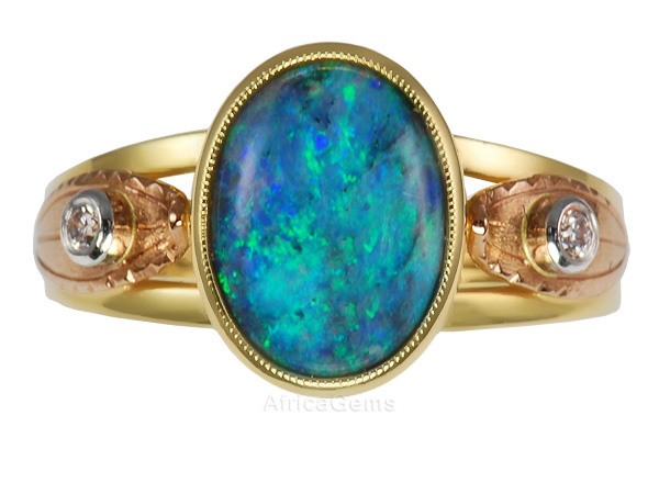Blazing Lighting Ridge Black Opal Bezel set Custom Ring with Decorative Gold Leaf - SOLD