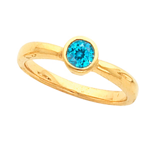 Blue Beauty! - Slim Bezel Set  Blue Zircon Gemstone Fashion Ring for SALE - SOLD