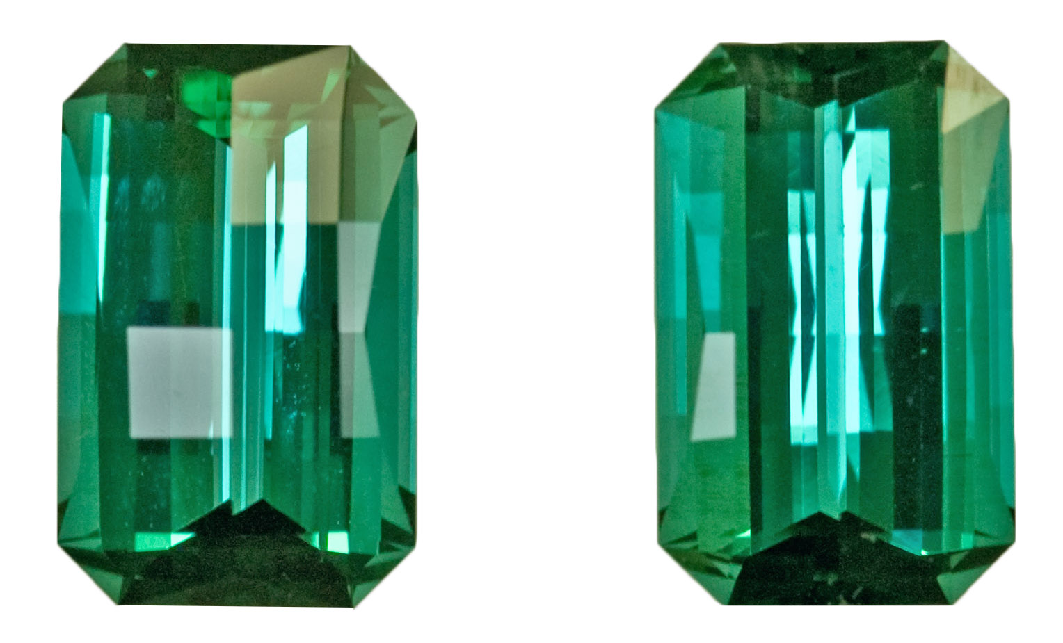 Blue Green Tourmalines in Matched Pair, Opposed Bar Cut, Fabulous Color in 11.5 x 7.3 mm, 7.35 carats