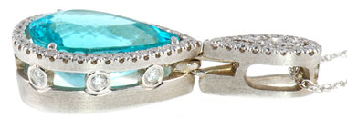 Blue Paraiba Tourmaline 7.06 cts in a Handmade Pendant in 18 kt white gold  - SOLD