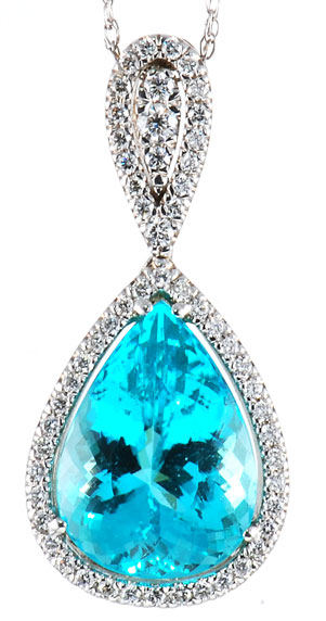 Custom jewelry design create your own custom jewelry by africagems blue paraiba tourmaline 706 cts in a handmade pendant in 18 kt white gold sold aloadofball Image collections