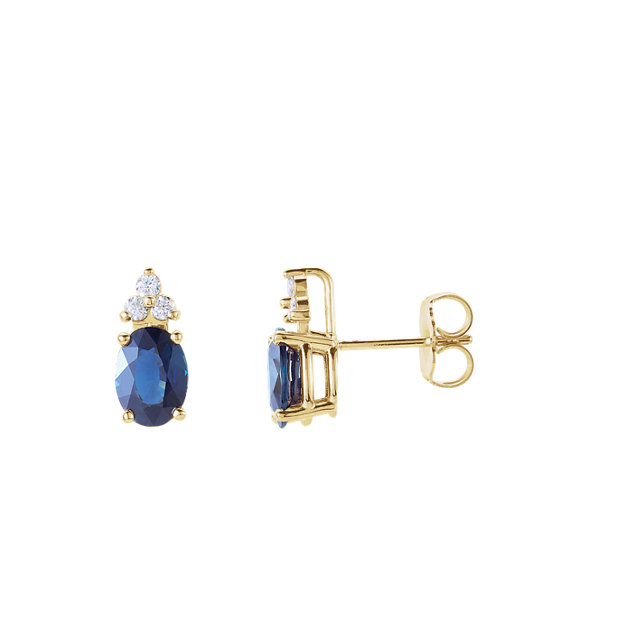 Jewelry Find Blue Sapphire & Diamond Accented Earrings