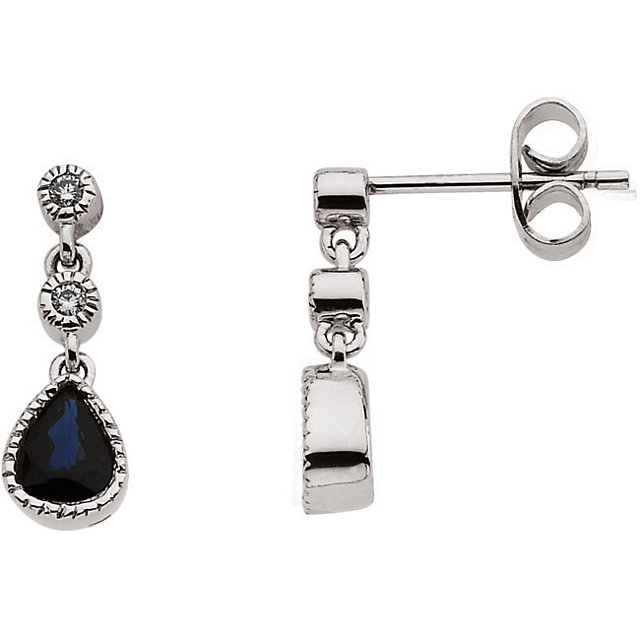 Great Gift in 14 Karat White Gold Blue Sapphire & .05 Carat Total Weight Diamond Earrings