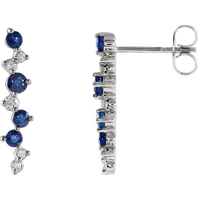 Eye Catchy Blue Sapphire & Diamond Earrings