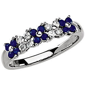 Exquisite 14 Karat White Gold Round Genuine Sapphire & 1/5 Carat Total Weight Diamond Ring
