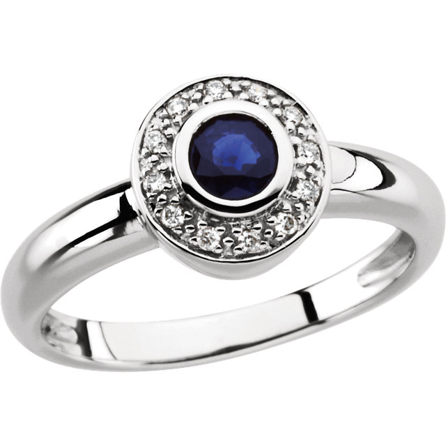 Perfect Jewelry Gift 14 Karat White Gold Sapphire & .06 Carat Total Weight Diamond Ring