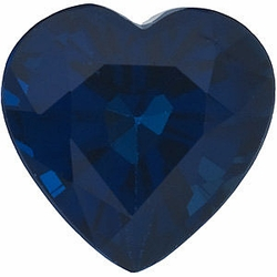 Gemstone Loose Blue Sapphire Gem, Heart Shape, Grade AA, 5.50 mm in Size, 0.83 Carats