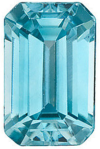 Blue Zircon Genuine Emerald Cut in Grade AAA