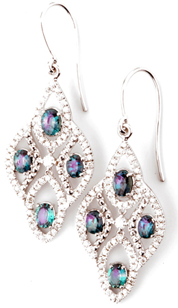 Bohemian Chic Natural Alexandrite Chandelier Earrings With Diamond Accents on Dangle Earrings - 2.01 carats, 4.2 x 2.8 mm