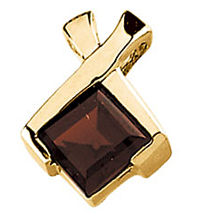 Bold .7ct 6mm Mozambique Garnet Pendant set in 14 karat White Gold - Free Chain