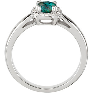 Bold Attractive White Gold Diamond Ring set with Genuine 0.50 ct AAA Grade 4.80 mm Round Cut Alexandrite Gemstone