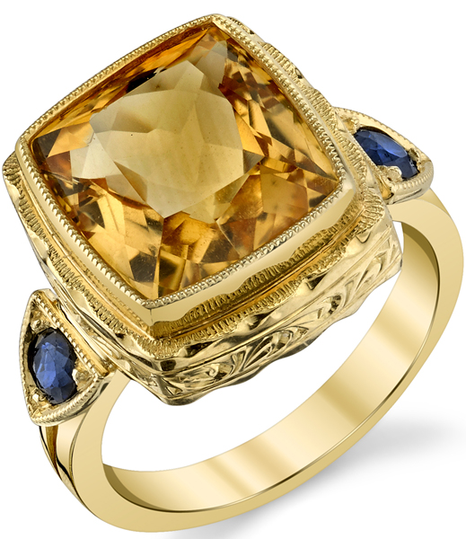 Bold Hand Crafted 18kt Yellow Gold 12.5 x 11.5 mm Cushion Citrine Gemstone Ring - Blue Sapphire Side Gems