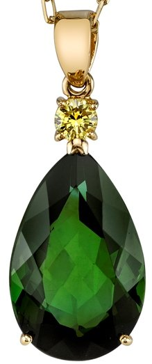 Bold Statement 10.77 carat Pear Shape Rich Green Tourmaline Gemstone Pendant With HTHP Yellow Diamond Accent - 18kt Yellow Gold
