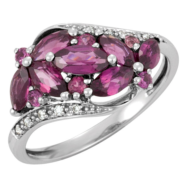 Gorgeous Brazilian Garnet & Diamond Accented Bypass Ring
