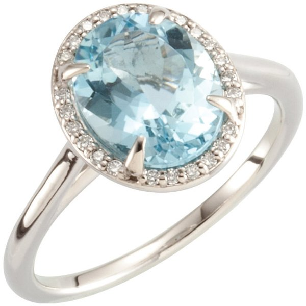 Breathtaking 2.45ct 10x8mm Oval Cut Aquamarine Gemstone Solitaire Ring in 14k White or Yellow Gold - Amazing Halo of Diamond Accents