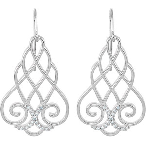 Breathtaking .25 ct Wire Frame Sterling Silver Intricate Earrings with Diamond Accents for SALE