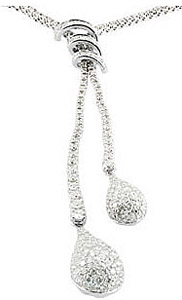 Breathtaking 3.33ct Diamond Cluster Double Strand Drop Necklace in 14k White Gold for SALE