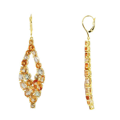 Breathtaking 3.35ct Multi-Colored Gemstone Lever Back 14k Yellow Gold Dangle Earrings - A Beautiful Bouquet of Quartz and Citrine - SOLD