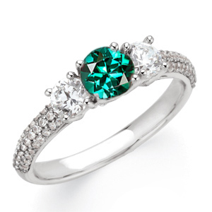 Breathtaking Blue Green Tourmaline Gemstone Engagement Ring With Diamond Side Gems and Diamond Accents on Band - SOLD
