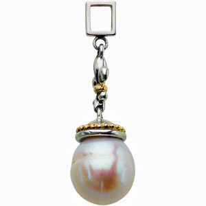 Breathtaking Fleur De Lis Designed Two Tone 12-13mm Freshwater Cultured Pearl Pendant for SALE - FREE Chain With Pendant