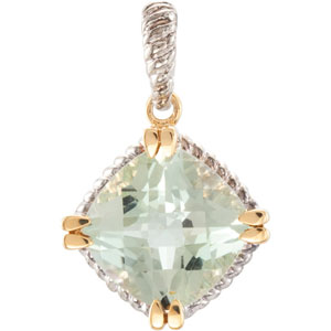 Breathtaking Genuine 7.4ct 12mm Checkerboard Green Quartz Pendant set in Sterling Silver - 14 kt Gold Prongs - FREE Chain - SOLD