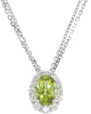 Breathtaking Oval Cut Peridot Surrounded By Varying Sizes of Round Diamonds, from 1.00 mm to 2.20 mm, in 14 karat White Gold - FREE Chain - SOLD