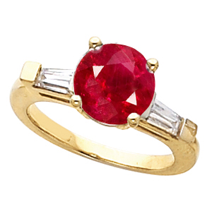 Breathtaking Ruby Engagement Ring With Round 1 carat 6mm Natural Real GEM Grade Ruby Gem & Diamond Baguettes