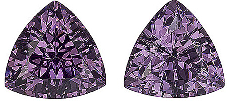 Bright and Brilliant! Wonderful Tanzanian Purple Spinel Matched Pair for SALE! Trillion Cut, 2.74 carats