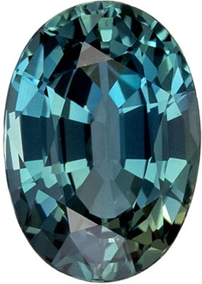Bright and Lively Blue Green Sapphire Loose Gemstone, Teal Blue Green, Oval Cut, 6.8 x 4.7 mm, 0.9 carats