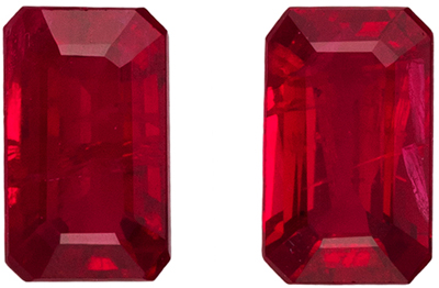 Bright and Lively Ruby Well Matched Gemstone Pair, Vivid Pure Red, Emerald Cut, 5.1 x 3.1 mm, 0.8 carats