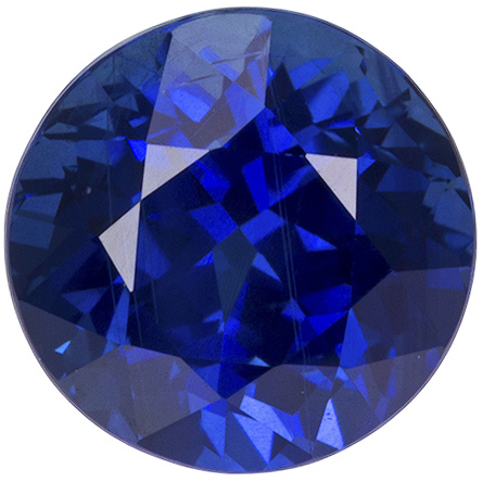 Bright Blue Sapphire Loose Gem in Round Cut, Intense Rich Blue, 8.4 mm, 3.55 carats