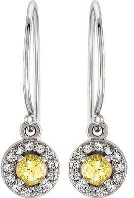 Bright & Cheery .3ct 3.5mm Canary Yellow Sapphire & White Sapphire 14k White Wire Back Earrings