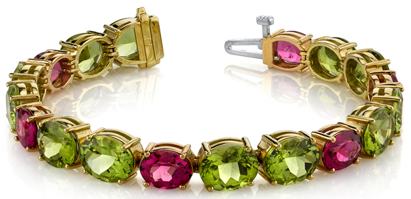 Bright & Colorful 18kt Yellow & Rose Gold Oval Shape Peridot & Pink Tourmaline Multi Gem Bracelet