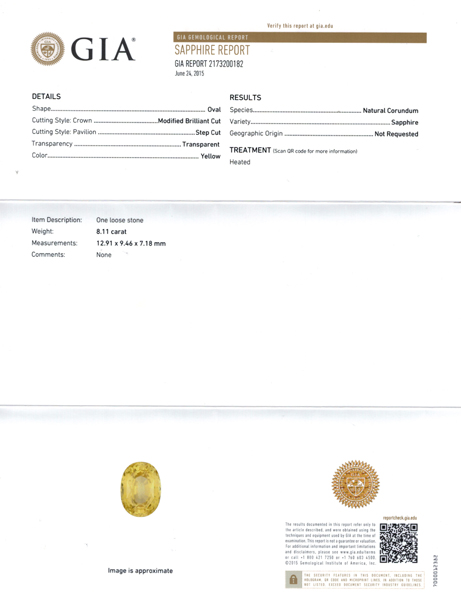 Bright GIA Yellow Sapphire Loose Gemstone in Oval Cut, Rich Pure Yellow Color in 12.91 x 9.46 mm, 8.11 Carats - With GIA Certificate